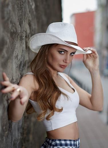 Laslusa İçten Ayarlanabilir Unisex Hasır Kovboy Şapka Beyaz